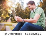 young man sitting in the park... | Shutterstock . vector #636652612