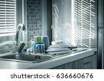 Small photo of water tap, dish wash dishes, plate, sunny morning