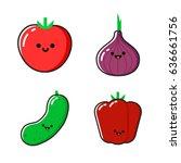 a set of cartoon vegetables... | Shutterstock .eps vector #636661756