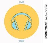 headphone blue outline vector...