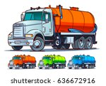 septic truck cartoon... | Shutterstock .eps vector #636672916