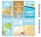 colorful hand drawn summer... | Shutterstock .eps vector #636676162