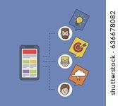 newspaper app on smartphone  ... | Shutterstock .eps vector #636678082