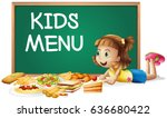 girl with food for kids menu | Shutterstock .eps vector #636680422