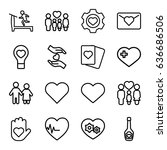 heart icons set. set of 16... | Shutterstock .eps vector #636686506