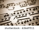 closeup of old sheet music with ...