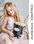 beautiful blonde girl in dress...   Shutterstock . vector #636697822