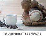 coffee cup and coffee beans... | Shutterstock . vector #636704146