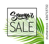 sale banner or poster with palm ... | Shutterstock .eps vector #636715732