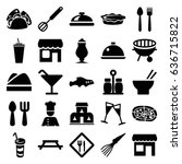restaurant icons set. set of 25 ... | Shutterstock .eps vector #636715822