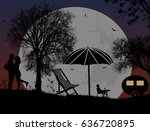 lovers on camping in front of... | Shutterstock .eps vector #636720895