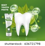 white tooth with a tube of mint ... | Shutterstock .eps vector #636721798