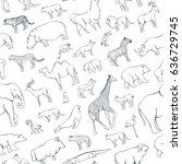 seamless pattern zoo animals...   Shutterstock .eps vector #636729745