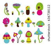 bright vector mushroom set | Shutterstock .eps vector #636738112