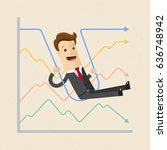 happy businessman and graphs. ... | Shutterstock .eps vector #636748942