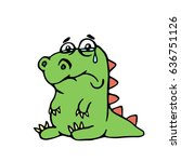 cute unhappy dinosaur. vector... | Shutterstock .eps vector #636751126
