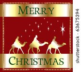 Raster version Illustration of a Merry Christmas Wise men. - stock photo