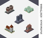 isometric building set of... | Shutterstock .eps vector #636754666