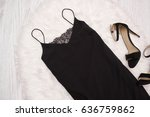 black simple dress with lace... | Shutterstock . vector #636759862