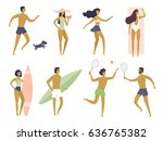 summer holiday. people having... | Shutterstock .eps vector #636765382