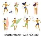 summer holiday. people having... | Shutterstock .eps vector #636765382