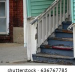 old wooden house steps with... | Shutterstock . vector #636767785