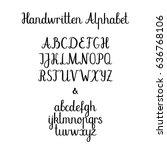 handwritten alphabet . brush... | Shutterstock .eps vector #636768106