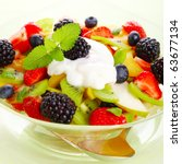fresh fruits salad with mint ... | Shutterstock . vector #63677134