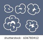 popcorn set. white icons. | Shutterstock .eps vector #636783412