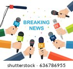 microphones in reporter hands... | Shutterstock .eps vector #636786955