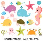 Cute vector set with sea animals for scrapbooking, baby showers and summer designs   Shutterstock vector #636788596