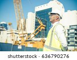 engineer man in helmet and... | Shutterstock . vector #636790276