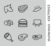 beef icons set. set of 9 beef... | Shutterstock .eps vector #636795415