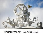 sculpture on dome of opera... | Shutterstock . vector #636803662