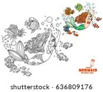 the beautiful girl the mermaid... | Shutterstock .eps vector #636809176