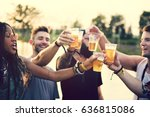 group of friends drinking beers ... | Shutterstock . vector #636815086