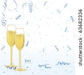 Champagne Glasses On Blue...