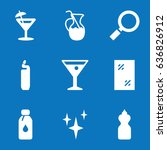 set of 9 glass filled icons...