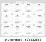 2018 calendar planner design. | Shutterstock .eps vector #636832858