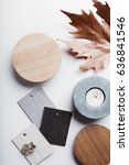 flat lay of autumn grey and... | Shutterstock . vector #636841546