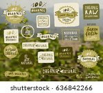 organic and natural food labels ... | Shutterstock .eps vector #636842266