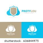 vector of shield and cloud logo ... | Shutterstock .eps vector #636844975