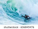 bodyboarder in action on the... | Shutterstock . vector #636845476