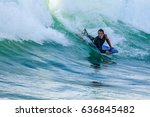 bodyboarder in action on the... | Shutterstock . vector #636845482