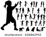 silhouette of children  big... | Shutterstock .eps vector #636862942