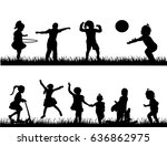 children silhouette playing and ... | Shutterstock .eps vector #636862975