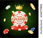 casino chips sign with golden... | Shutterstock .eps vector #636879886