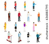 people set man and woman...   Shutterstock .eps vector #636883795