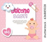welcome baby card | Shutterstock .eps vector #636885028