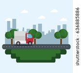 truck and city icon | Shutterstock .eps vector #636885886